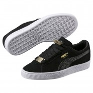 Puma Suede Classic Shoes Boys Black-Black (884ODZRJ)