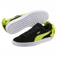 Puma Suede Bow Shoes Womens Black-Sulphur Spring (930MLEOC)