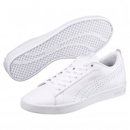 Puma Smash Shoes Womens White-White-Wins (931EDBHO)