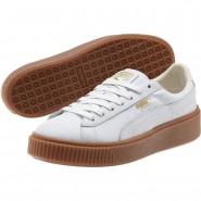 Puma Basket Platform Shoes Womens White-White (942YCBUW)