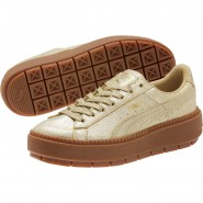 Puma Basket Platform Lifestyle Shoes Womens Metallic Gold (944BNCRV)