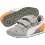 Puma Cabana Racer Shoes Boys Rock Ridge-White-Vibrant (950SWNHJ)
