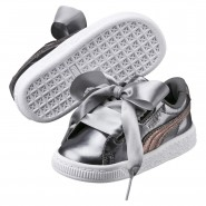 Puma Basket Heart Shoes Girls Smoked Pearl (965ZSVKY)